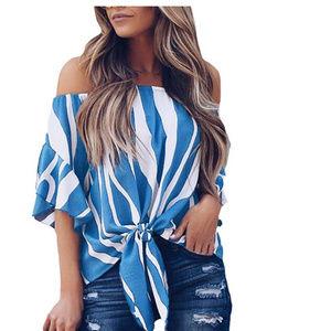 Tops - off shoulder belle blue stripes